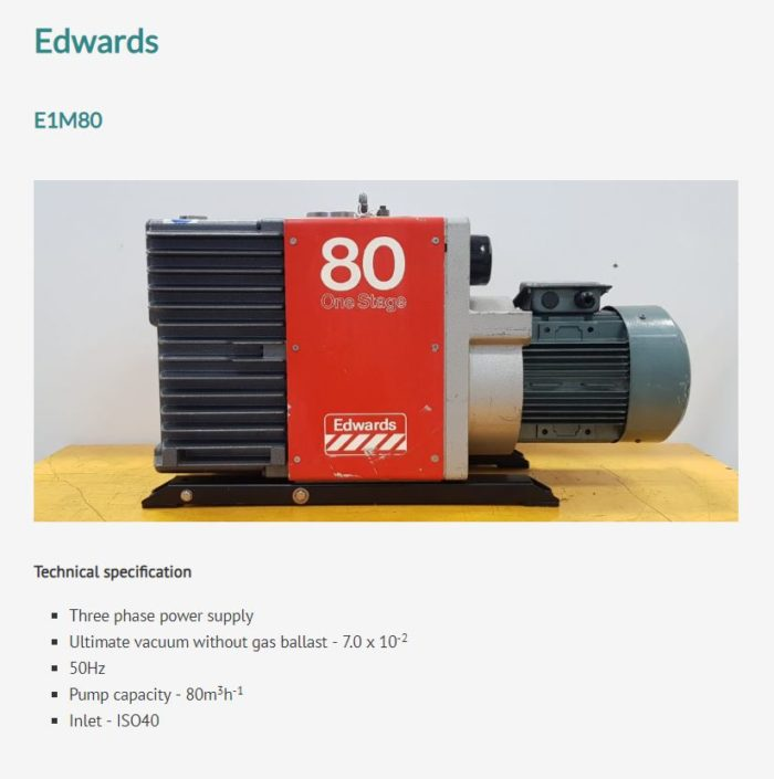 Snapshot of an Edwards pump from the reconditioned page.